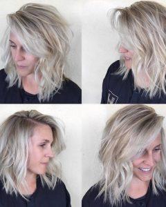 Blonde Lob Hairstyles with Sweeping Bangs