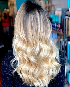 Golden Blonde Balayage on Long Curls Hairstyles