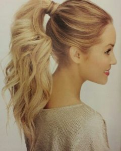 Long Blond Ponytail Hairstyles With Bump And Sparkling Clip