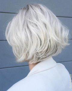 Platinum Blonde Bob Hairstyles with Exposed Roots