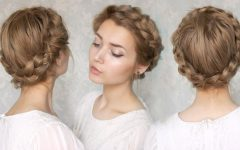 Traditional Halo Braided Hairstyles With Flowers
