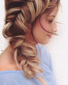 Side Pony Hairstyles With Fishbraids And Long Bangs