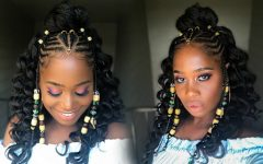 Shoulder-length Loose Curls with Beaded Mini-fulani Braids