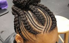 Curvy Ghana Braids with Crown Bun
