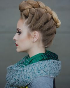 Curly Pony Hairstyles With A Braided Pompadour