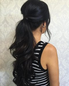Wavy Ponytails With Flower