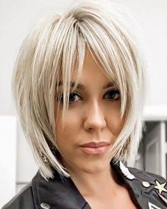 Sliced Platinum Blonde Bob Hairstyles