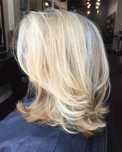 White-Blonde Flicked Long Hairstyles
