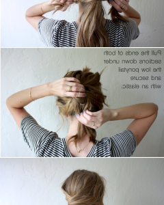 Pretty Messy Pony Hairstyles With Braided Section