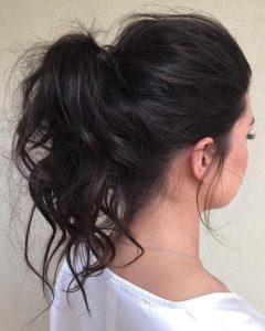 Mid-Length Wavy Messy Ponytail Hairstyles