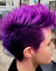 Faux-hawk Fade Haircuts with Purple Highlights