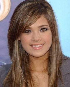Medium Hairstyles with Side Swept Bangs and Layers