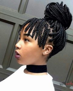Turned and Twisted Pigtails Hairstyles with Front Fringes