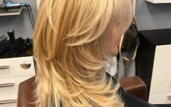 Lovely Golden Blonde Haircuts With Swoopy Layers