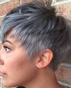 Choppy Gray Pixie Haircuts