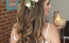 Floral Crown Half Up Half Down Bridal Hairstyles