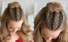 Triple Under Braid Hairstyles with a Bun