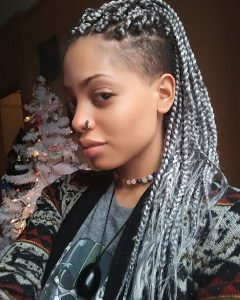 Shaved Platinum Hairstyles with Micro Braids