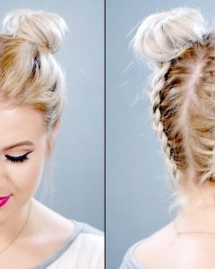 Twin Braid Updo Hairstyles