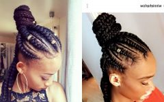 Feed-in Bun with Ghana Braids