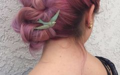 Pastel Colored Updo Hairstyles with Rope Twist