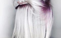 Voluminous Platinum and Purple Curls Blonde Hairstyles