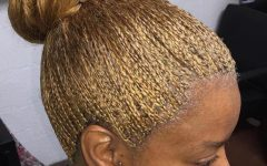 Golden Blonde Tiny Braid Hairstyles