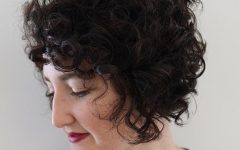 Jaw-length Inverted Curly Brunette Bob Hairstyles