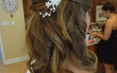 Half Up Half Down With Flower Wedding Hairstyles