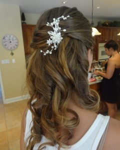 Half Up Half Down with Flower Wedding Hairstyles