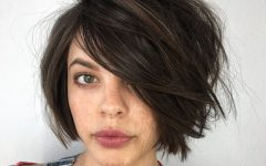 Lip-length Tousled Brunette Bob Hairstyles