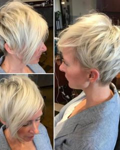 Feathery Bangs Hairstyles with a Shaggy Pixie