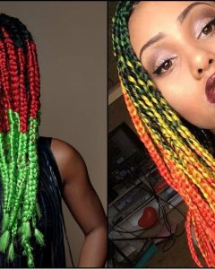 Multicolored Jumbo Braid Hairstyles