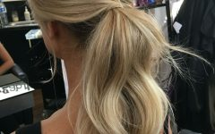 Loose Messy Ponytail Hairstyles for Dyed Hair
