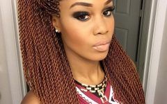 Red and Brown Micro Braid Hairstyles