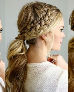 Twin Braid Updo Ponytail Hairstyles