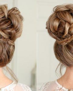 Braid-wrapped High Bun Hairstyles