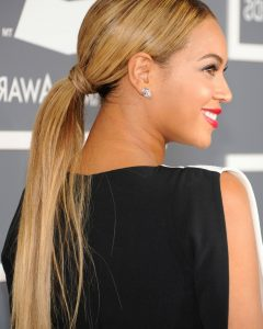 Low Loose Pony Hairstyles With Side Bangs