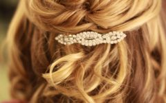 Medium Half Up Half Down Bridal Hairstyles with Fancy Knots