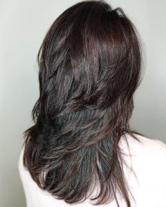 Shiny Black Haircuts With Flicked Layers