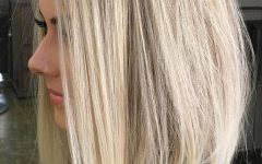Striking Angled Platinum Lob Blonde Hairstyles