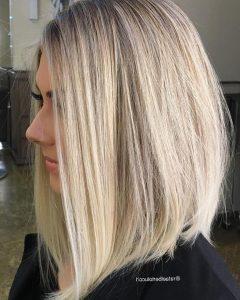 Striking Angled Platinum Lob Blonde Hairstyles