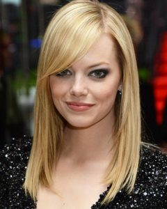 Long Hairstyles With Side Bangs For Round Faces