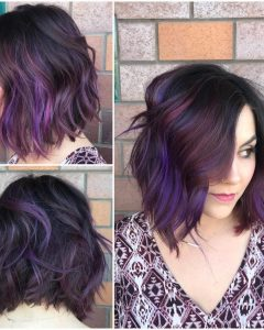 Purple And Black Medium Hairstyles