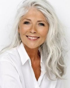 Long Hairstyles For Grey Haired Woman