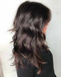 Shiny Brunette Shag Haircuts for Long Hair