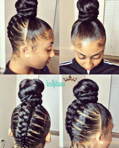 Spiral Under Braid Hairstyles with a Straight Ponytail