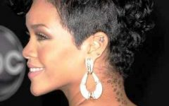 Rihanna Black Curled Mohawk Hairstyles