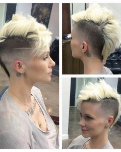 Long Platinum Mohawk Hairstyles With Faded Sides
