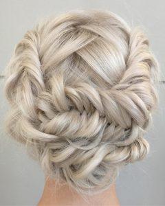 Platinum Braided Updo Blonde Hairstyles